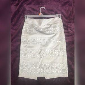 White House & Black Market Silver Lace Skirt
